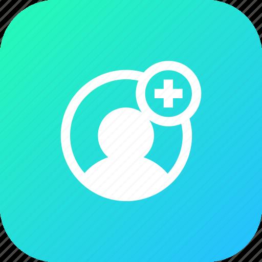 add, avatar, insert, male, plus, profie, user icon