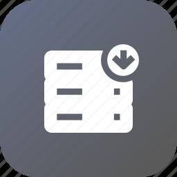 data, database, download, rack, server, storage icon