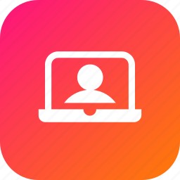 3, device, display, laptop, profile, screen, user, webcam icon