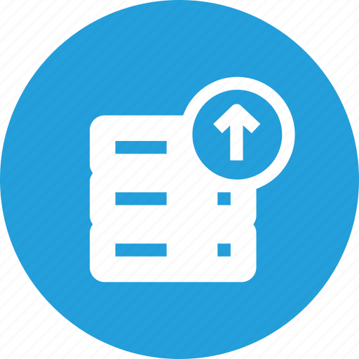 data, database, rack, server, storage, upload icon
