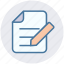 business, document, edit, file, page, paper, pencil icon