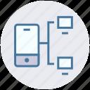 communication, data sharing, internet, mobile, monitors, networking, sharing icon