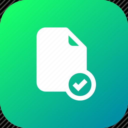 accept, document, file, important, memo, paper, verify icon