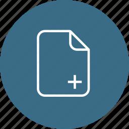 add, document, file, important, insert, memo, paper icon