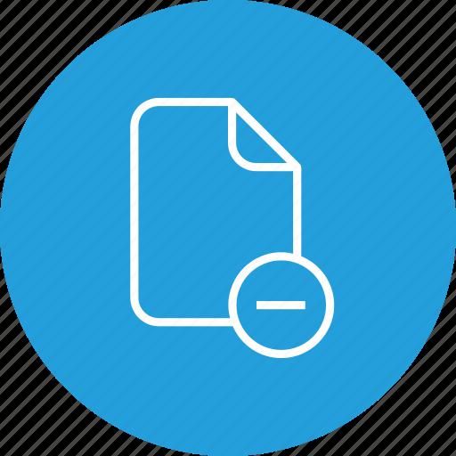 document, file, important, memo, minus, paper, remove icon