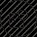 cancel, data, database, rack, remove, server, storage