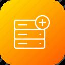 add, data, database, insert, rack, server, storage