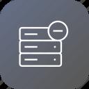 database, storage, remove, server, cancel, data, rack icon