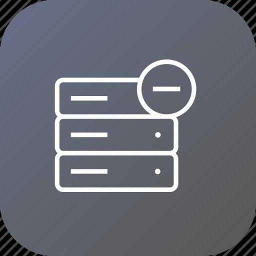 cancel, data, database, rack, remove, server, storage icon