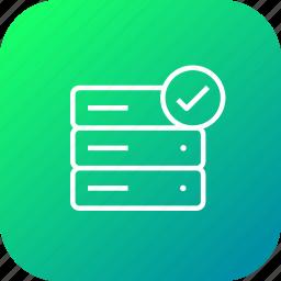 accept, data, database, rack, server, storage, verify icon