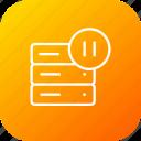 pause, database, storage, stop, server, data, rack icon