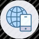 communication, earth, globe, internet, mobile, phone, world icon