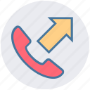 arrow, call, communication, outgoing, phone, phone call, telephone icon