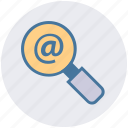 at sign, communication, find, magnifier, search, website, zoom icon