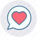 chat, comment, communication, heart, like, love, message icon