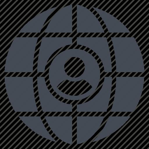 account, developer, global management, global service, globe, male, user icon
