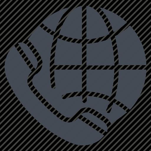 call, global communication, globe, international call, receiver icon