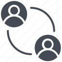 arrows, chat, communication, exchange, people connection, users icon