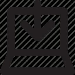 arrow, downloading, inbox, laptop, ui icon