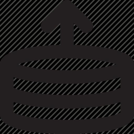 arrow, database, networking, upload, upload server icon