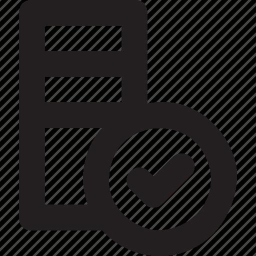 database, hosting, networking, server, tick icon