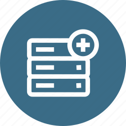 add, data, database, insert, rack, server, storage icon