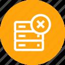 cross, data, database, delete, rack, remove, server, storage