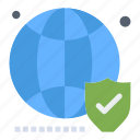 globe, secure, shield, website, world