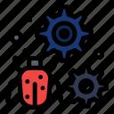 antivirus, bug, configure, gear, setting