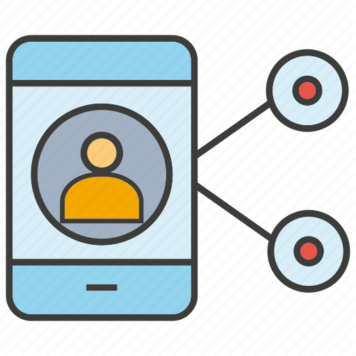 connection, media, mobile, people, phone, share, social icon