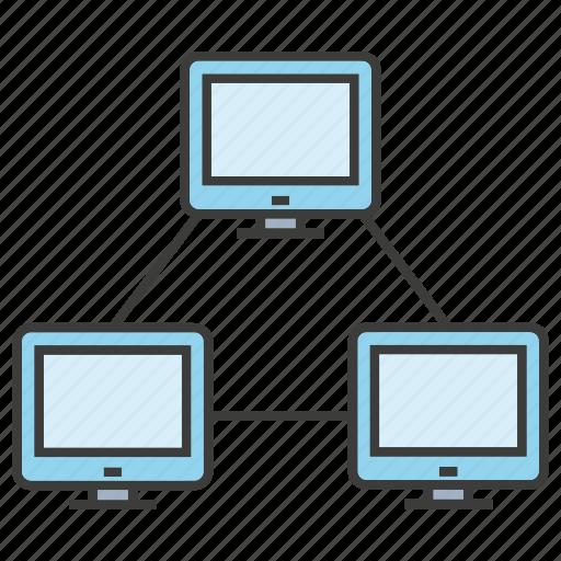 computer, connection, desktop, internet, lan, link, server icon
