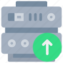 arrow, data, database, network, server, storage, upload icon