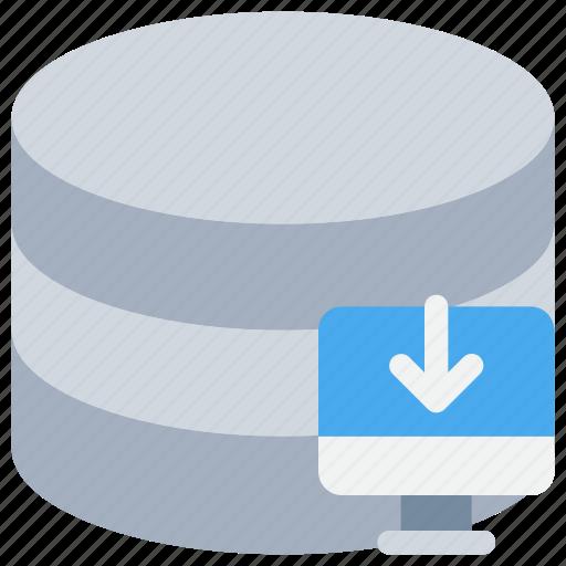 arrow, data, database, download, storage icon