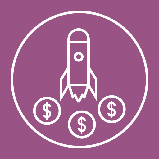 coins, fly, rocket, space, spaceship, startup icon