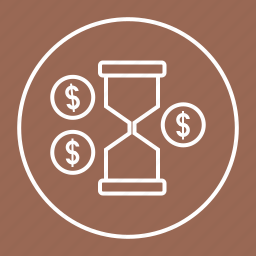 coins, money, sand, sandwatch, time, watch icon