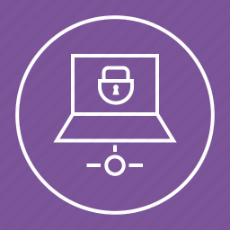 laptop, lock, protected, secure, sharing icon