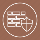 bricks, defense, protection, shield, wall icon