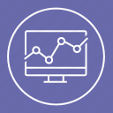 analysis, computer, monitor, report icon