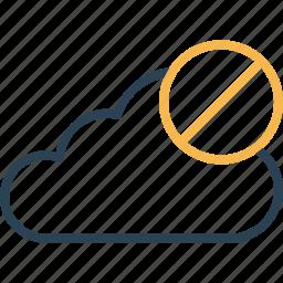 cancel, cloud, connection, data, denied, online, storage icon