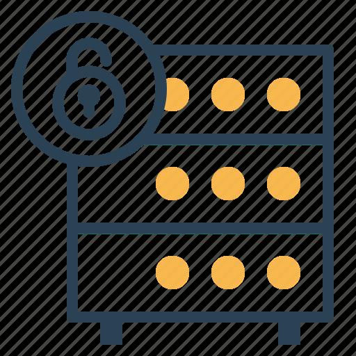 databse, hosting, lock, rack, secure, security, server icon
