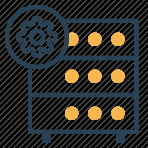 databse, hosting, optimization, rack, server, settings, wheel icon