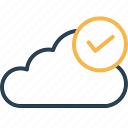 authenticated, cloud, connection, data, established, server, storage icon