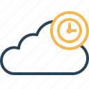 clock, cloud, data, reminder, storage, timestamp icon