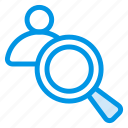 avatar, male, man, person, search, user, zoom icon