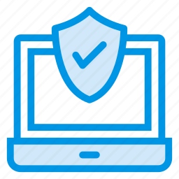 laptop, locked, protected, protection, secured, security, shield icon