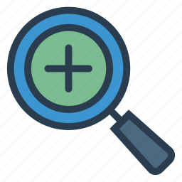 glass, in, larger, magnifier, tool, zoom, zoomin icon