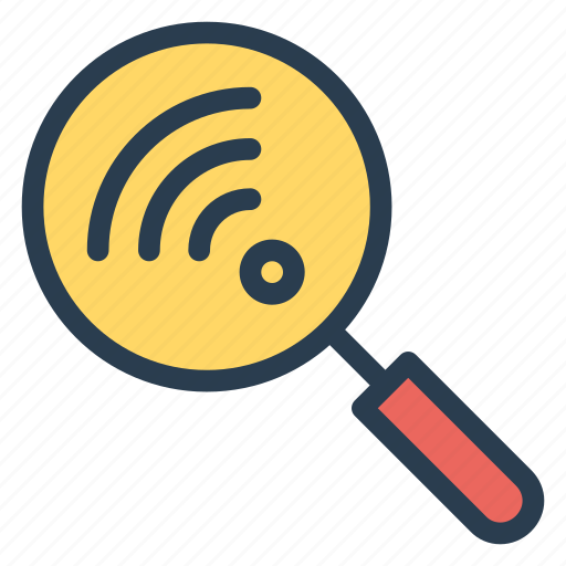 connection, find, magnify, scan, search, wifi, wireless icon