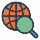global, magnifier, search, seo, theworld, web, world icon