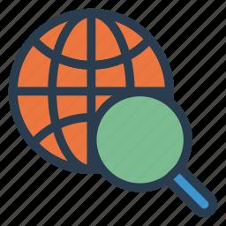 global, magnifier, search, seo, theworld, web, world icon