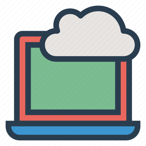 cloud, computing, device, laptop, network, notebook, online icon